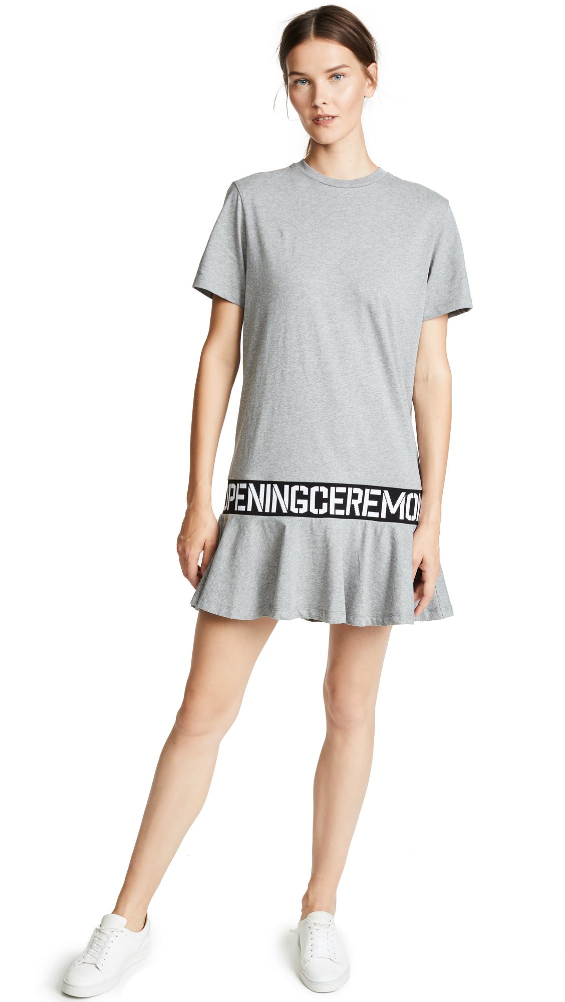 Oc Elastic Logo Crewneck Short-Sleeve Cotton T-Shirt Dress, Heather Grey