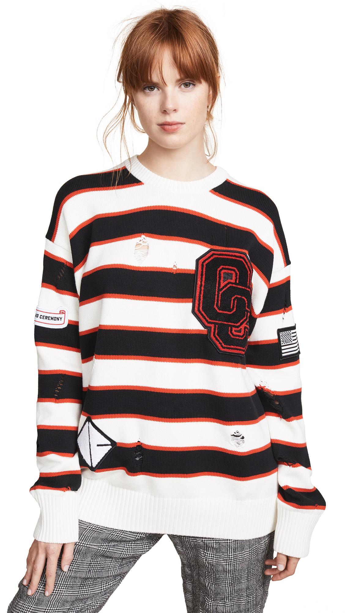 OPENING CEREMONY Varsity Appliquéd Distressed Striped Cotton-Blend Sweater, White Multi