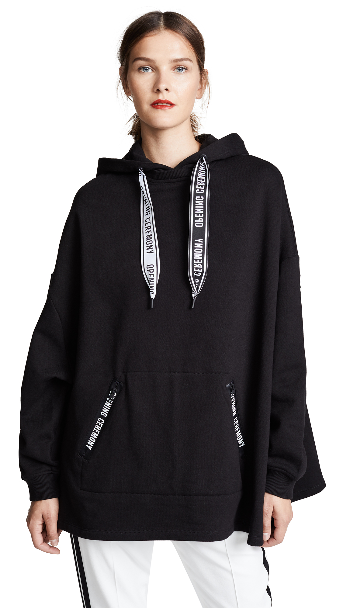 Oversized Printed Cotton-Jersey Hoodie, Black