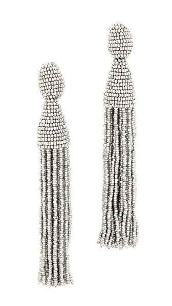 Oscar de la Renta Classic Long Tassel Earrings - Silver