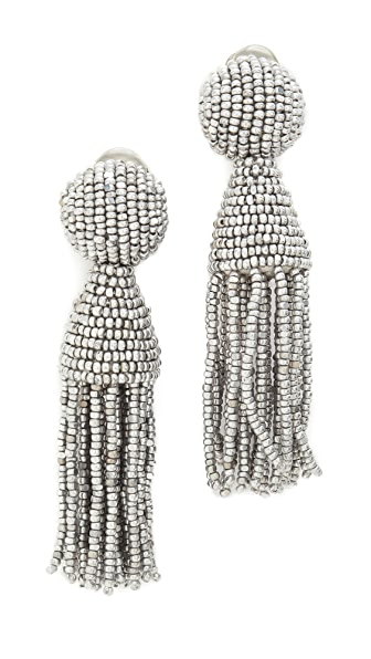 Oscar de la Renta Short Tassel Earrings - Silver