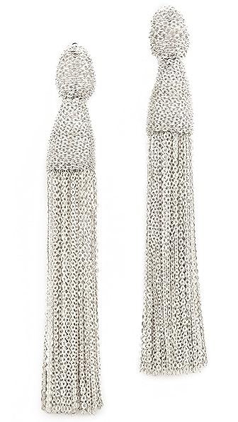 Oscar de la Renta Classic Chain Tassel Earrings