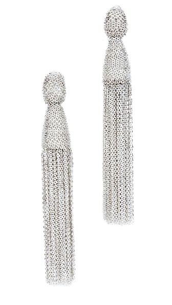Oscar de la Renta Classic Chain Tassel Earrings - Silver