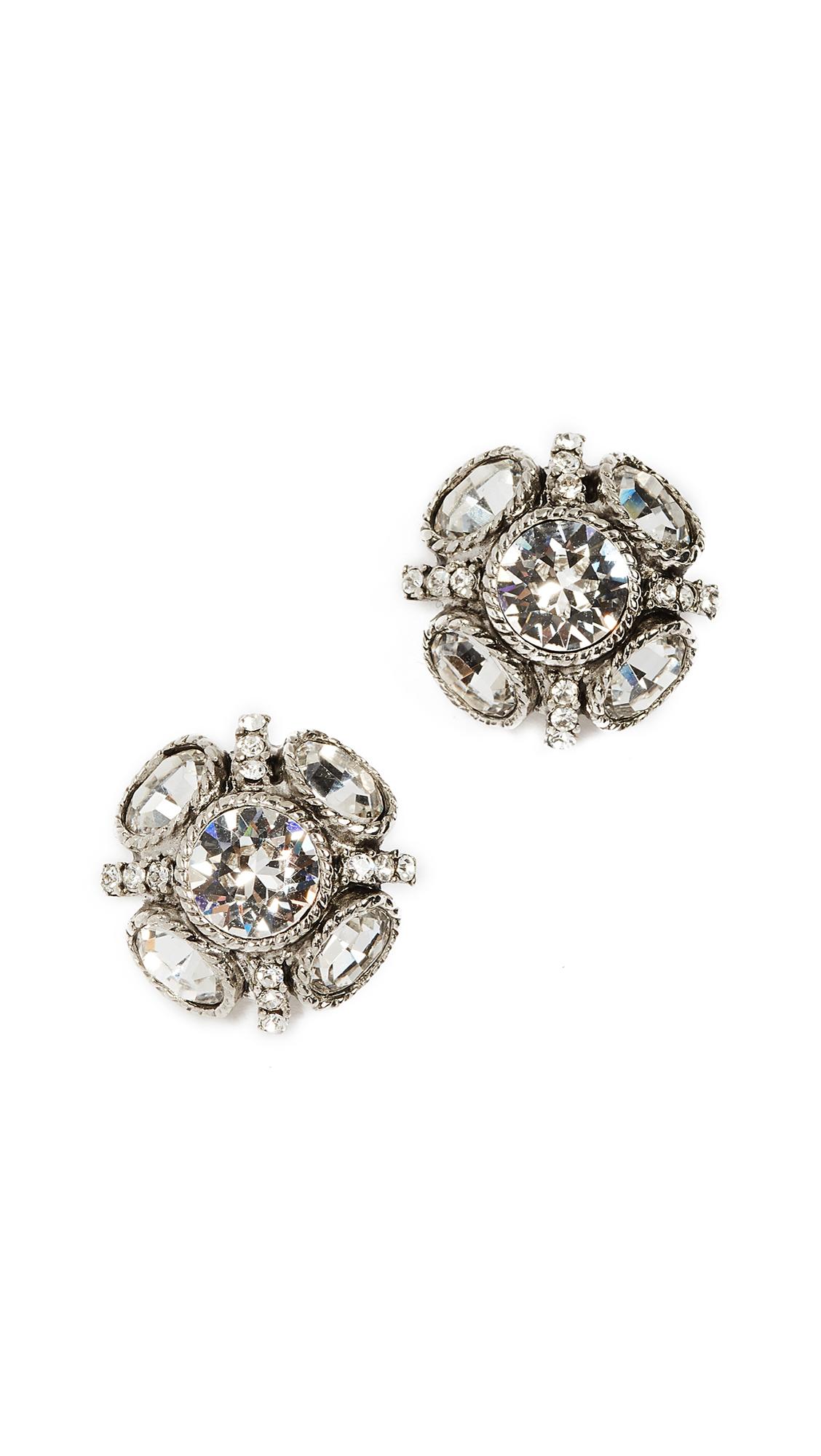Oscar de la Renta Classic Button Earrings - Crystal/Silver