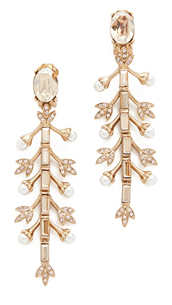 Oscar de la Renta Crystal Baguette Leaf Long Earrings
