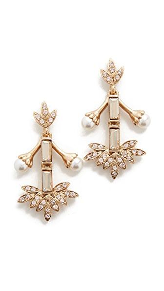 Oscar de la Renta Crystal Baguette Leaf Earrings
