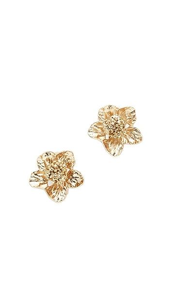 Oscar de la Renta Bold Flower Button Clip On Earrings