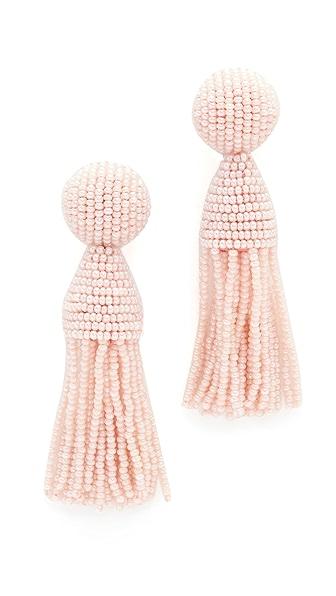 Oscar de la Renta Short Tassel Clip On Earrings In Light Pink