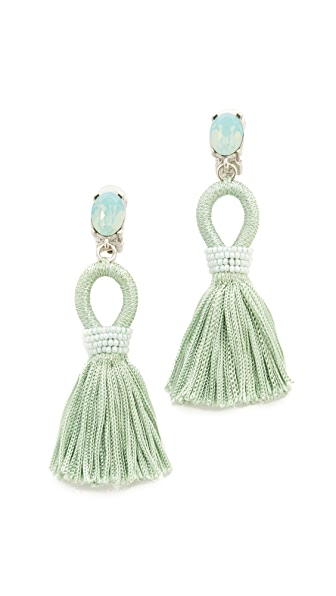 Oscar de la Renta Short Silk Tassel Clip On Earrings