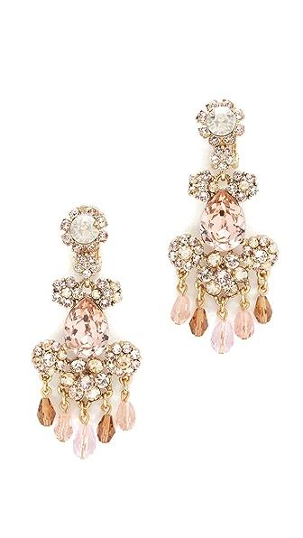 Oscar de la Renta Crystal Flower Bold Clip On Earrings