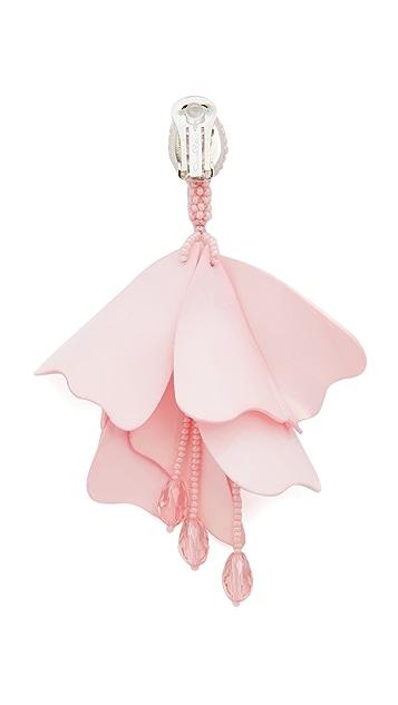 Oscar de la Renta Impatiens Flower Drop Clip On Earrings