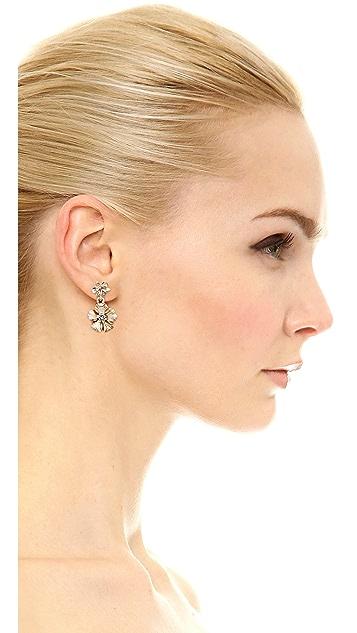 Oscar de la Renta Crystal Bouquet Flower Earrings