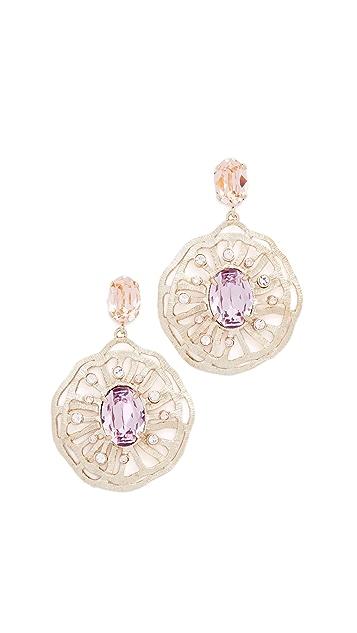 Oscar de la Renta Perforated Crystal Round Earrings