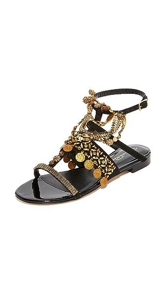 Oscar de la Renta Coin Sandals - Black/Gold
