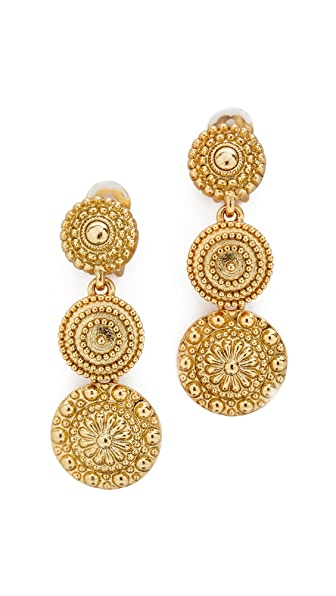 Oscar de la Renta Disc Clip On Earrings