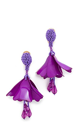 Oscar de la Renta Small Impatiens Drop Clip On Earrings
