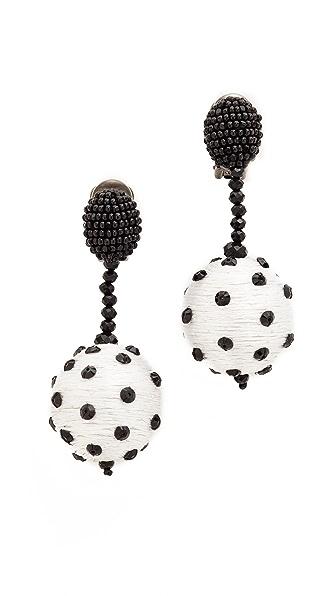 Oscar de la Renta Polka Dot Clip On Sequin Earrings