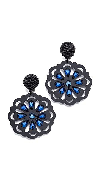 Oscar de la Renta Crystal Laser Cut Clip On Earrings