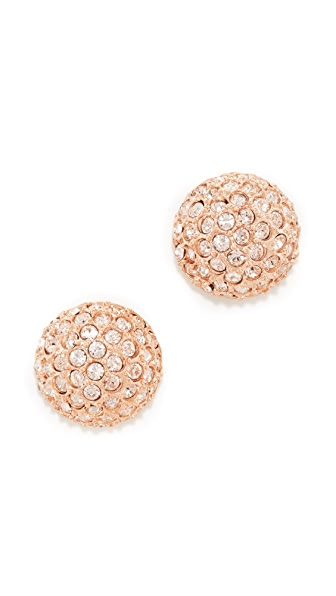Oscar de la Renta Pave Crystal Dome Button Clip On Earrings - Silk