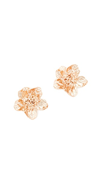 Oscar de la Renta Bold Flower Button Clip On Earrings In Rose Gold