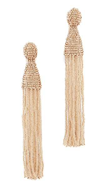 Oscar de la Renta Long Beaded Tassel Clip On Earrings - Pebble