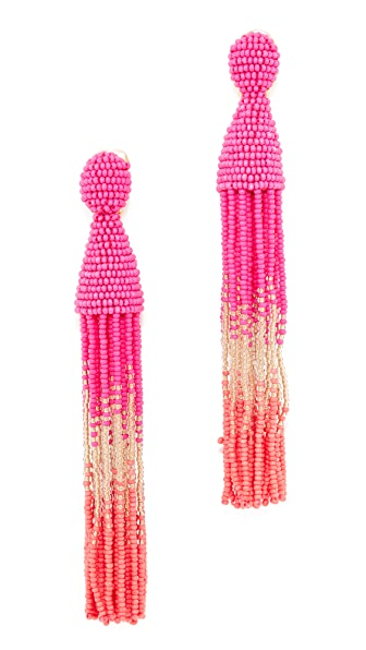 Oscar de la Renta Long Ombre Beaded Tassel Earrings - Tourmaline