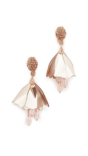 Oscar de la Renta Mini Impatiens Flower Drop Clip On Earrings - Rose Gold