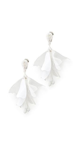 Oscar de la Renta Impatens Clip On Earrings - White