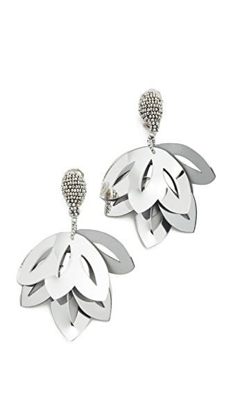 Oscar de la Renta Floral Opaque Tulip Clip On Earrings - Metallic Silver