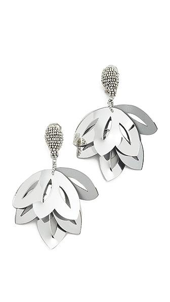 Oscar de la Renta Floral Opaque Tulip Clip On Earrings - Metallic Silver
