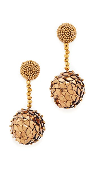 Oscar de la Renta Beaded Sequin Ball Earrings In Gold