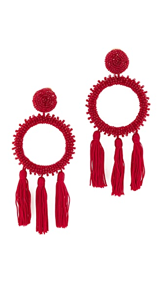 Oscar de la Renta Large Beaded Circle Tassel Clip On Earrings In Garnet