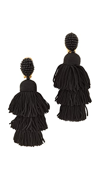 Oscar de la Renta Long Silk Tiered Tassel Clip On Earrings - Black