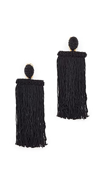 Oscar de la Renta Long Silk Waterfall Tassel Clip On Earrings - Black