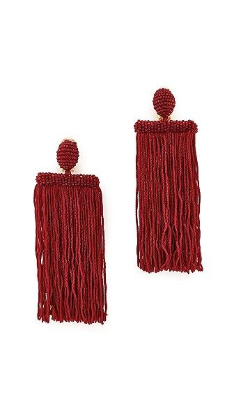 Oscar de la Renta Long Silk Waterfall Tassel Clip On Earrings - Garnet
