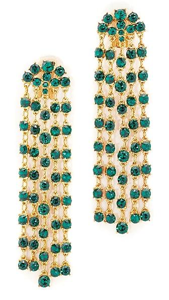 Oscar de la Renta Crystal Tassel Earrings - Emerald