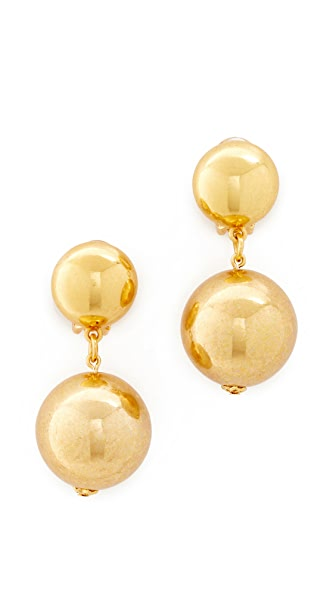 Oscar de la Renta Drop Clip On Earrings - Gold