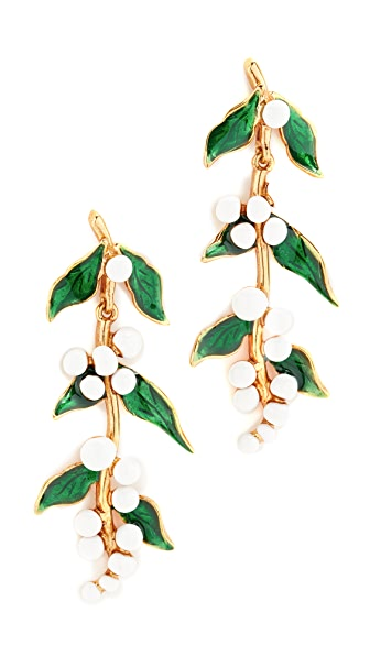 Oscar de la Renta Painted Vine Earrings