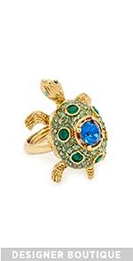 Crystal Turtle Ring Oscar de la Renta