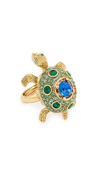 Oscar de la Renta Crystal Turtle Ring - Emerald