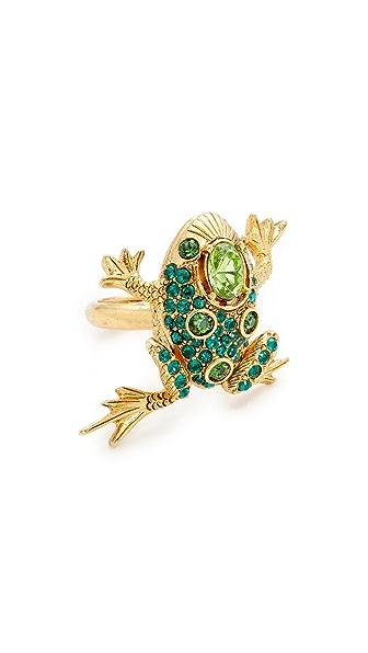 Oscar de la Renta Crystal Frog Ring - Emerald