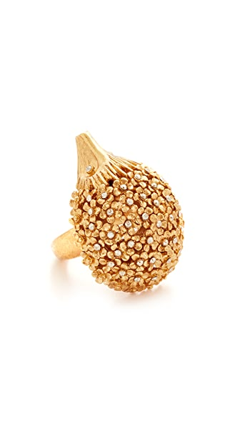 Oscar de la Renta Crystal Hedgehog Ring - Cry Gold Shadow