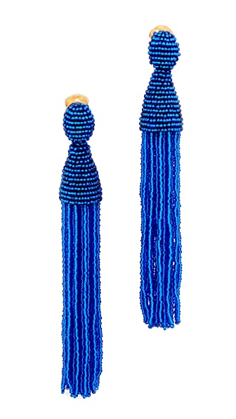 Oscar de la Renta Beaded Tassel Clip On Earrings - Sapphire