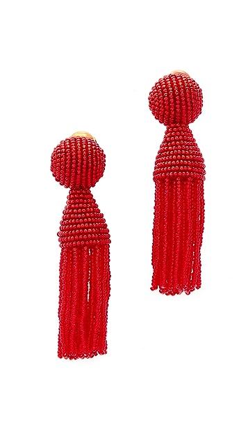 Oscar de la Renta Short Beaded Tassel Clip On Earring