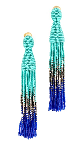 Oscar de la Renta Long Tassel Clip On Earrings In Aqua
