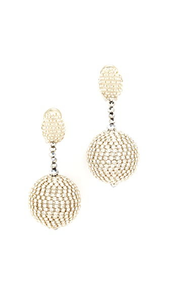 Oscar de la Renta Beaded Drop Clip On Earrings - Crystal/Silver