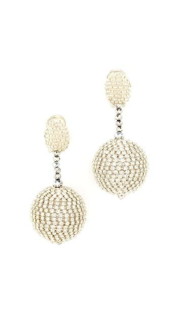 Oscar de la Renta Beaded Drop Clip On Earrings