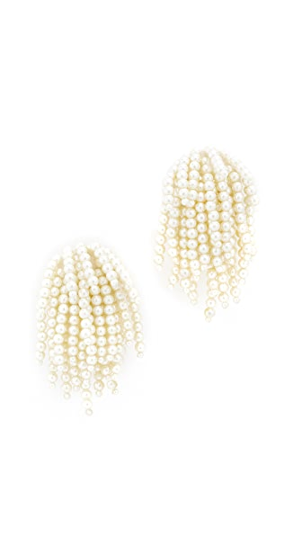 Oscar de la Renta Imitation Pearl Tassel Clip On Earrings