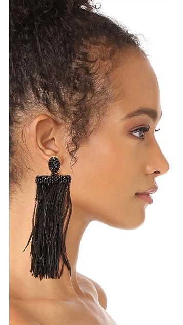 Oscar de la Renta Feather Tassel Clip On Earrings