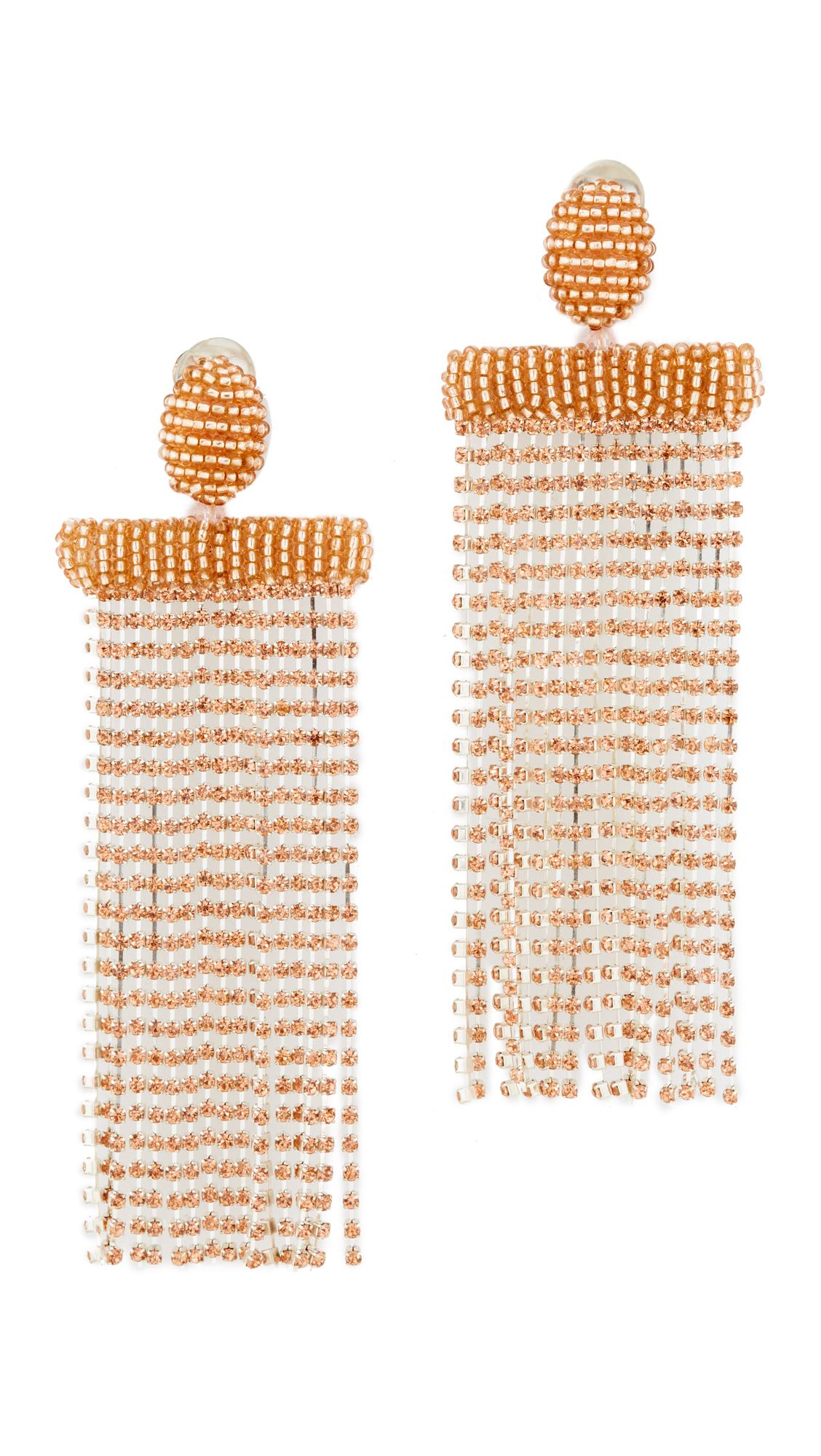 Oscar de la Renta Waterfall Tassel Clip Earrings In Sorbet